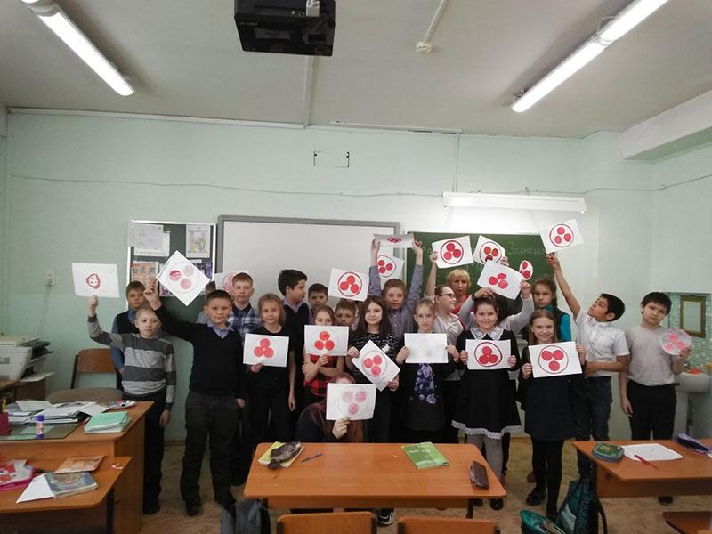 В школе № 139 г. Красноярска учителем начальных классов Г.А. Шевченко был проведен Урок Культуры под Знаменем Мира