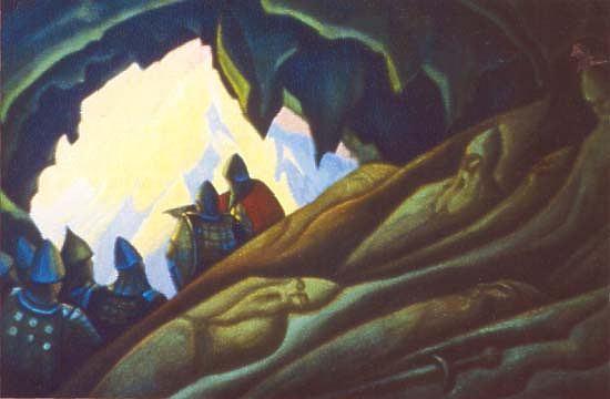 Картина Н.К.Рериха «Богатыри проснулись». 1940