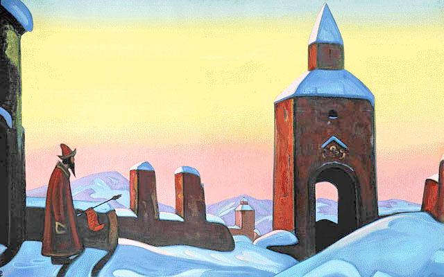 Картина Н.К.Рериха «Весть Тирону». 1940