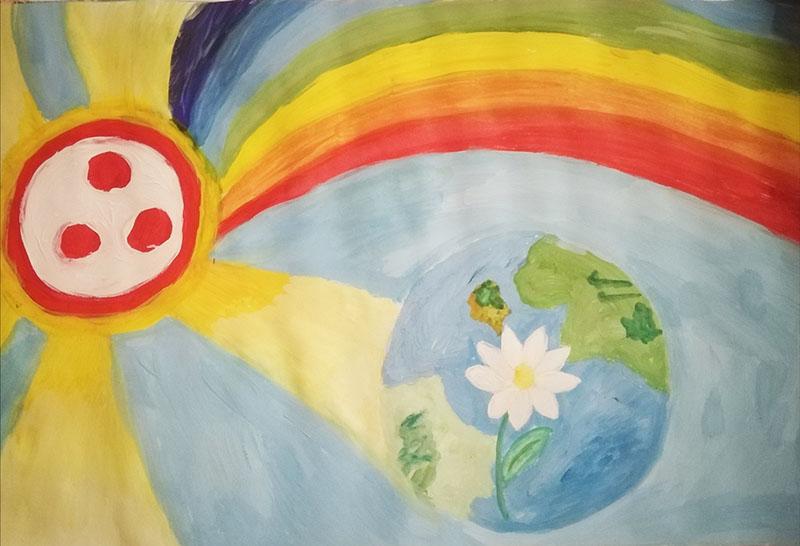 """Рисунок """"Под знаменем мира в прекрасное будущее"""". Маматохтаев Евгений-Жасур, МБДОУ № 6, г. Слюдянка"""