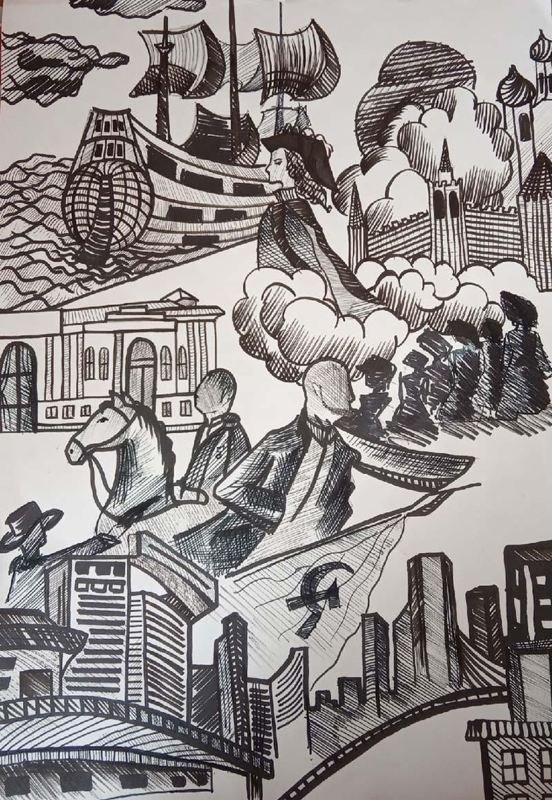 """Рисунок """"Через века"""". Семенова Варвара, ГБПОУ ИО Иркутский региональный колледж педагогического образования"""