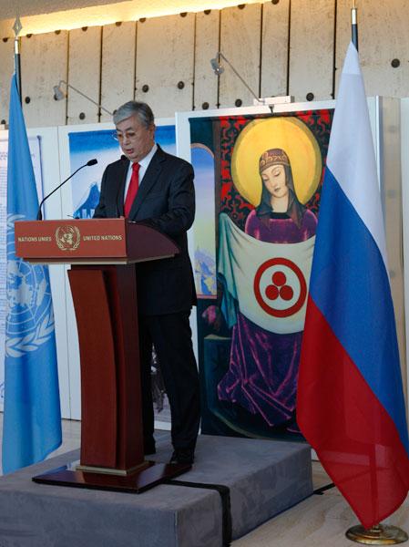 Выступает заместитель Генерального секретаря ООН, Генеральный директор Отделения ООН в Женеве К.-Ж.К. Токаев