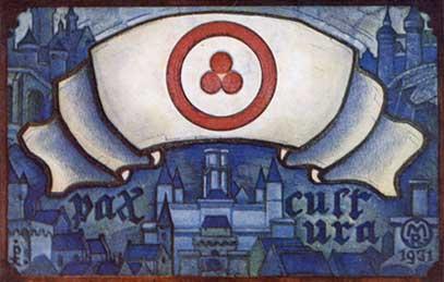 Почтовая открытка по эскизу Н.К.Рериха «Pax culture». 1931